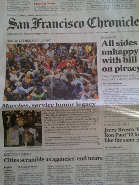 The San Francisco Chronicle published a photo and story from the event on the front page.