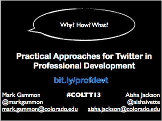 "This is the first slide in the presentation. It features the title, ""Practical approaches for Twitter in Professional Development: Practical approaches for Twitter in Professional Development."