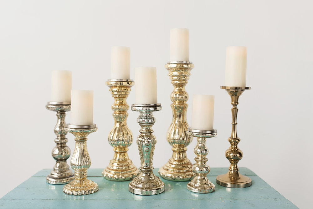 Gold Glass Candlesticks