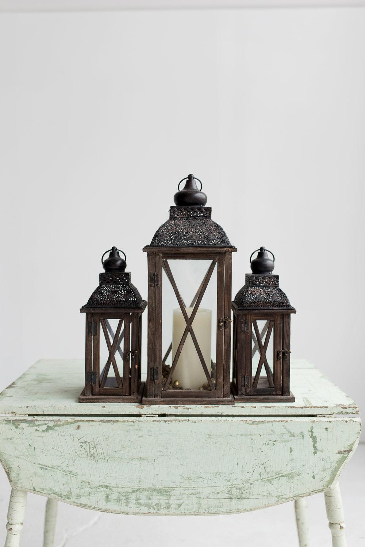 Brown Wooden Lanterns (3)