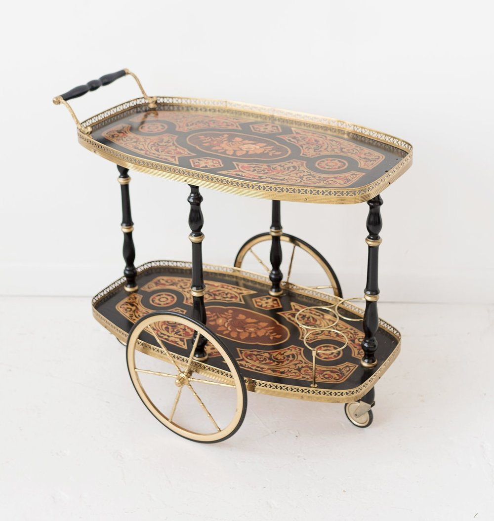 New Inventory - black rolling bar cart