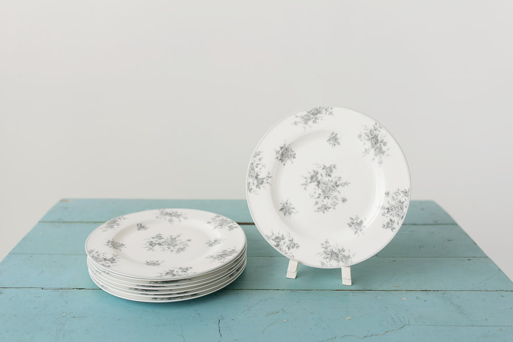 Grey Floral Plates