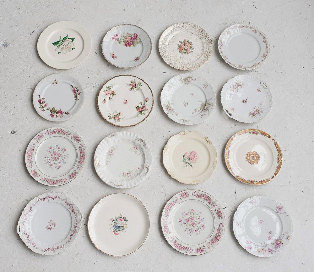 Vintage Floral Dinner Plates