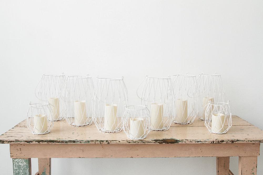 White Metal Geometric Lantern Collection (9)