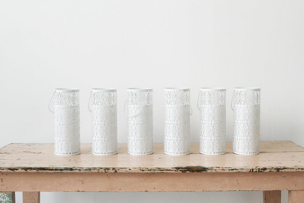 White Metal Pillar Lanterns (6)