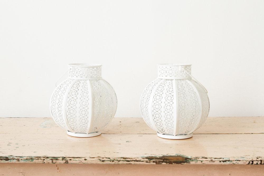 White Metal Round Lanterns (2)