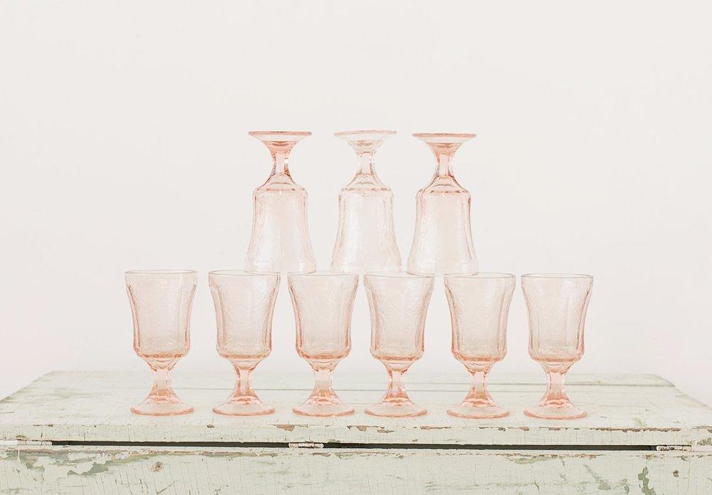 Pink Medalion Goblets (9)