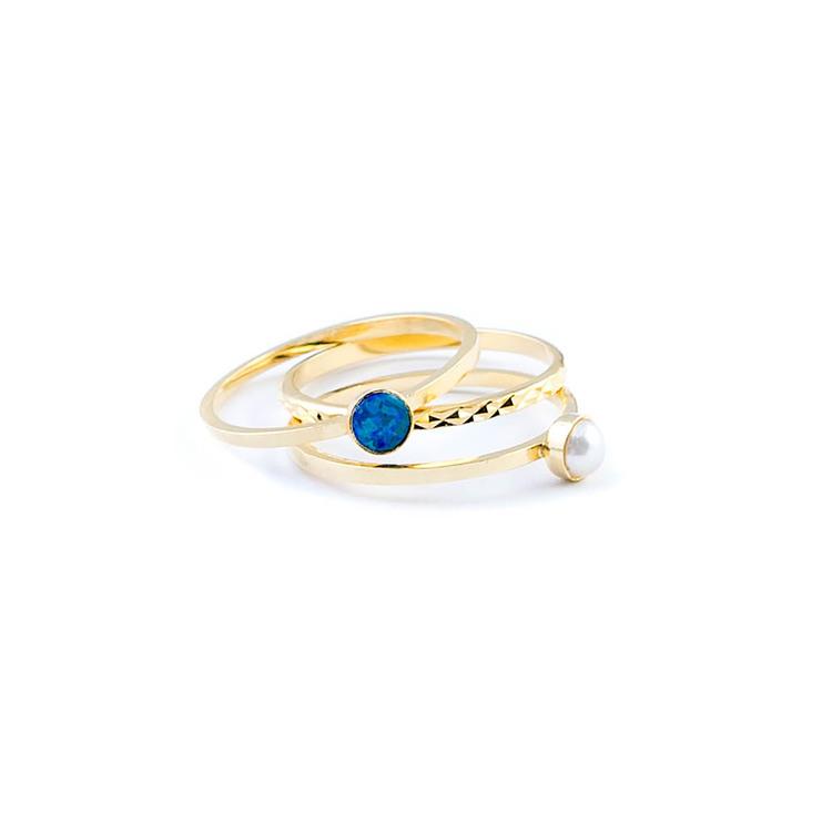 Marlien Dk. Blue Opal/Pearl Ring Set