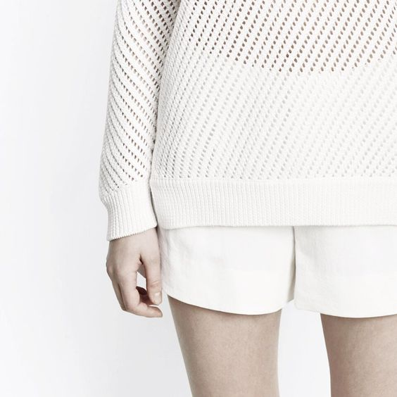 Open weave sweater and shorts by Vince