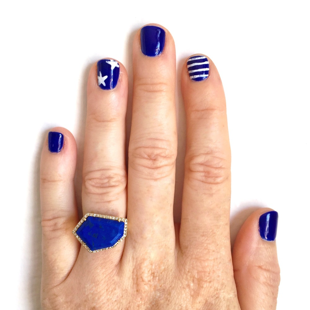Lapis Cubist Cocktail Ring by Janna Conner