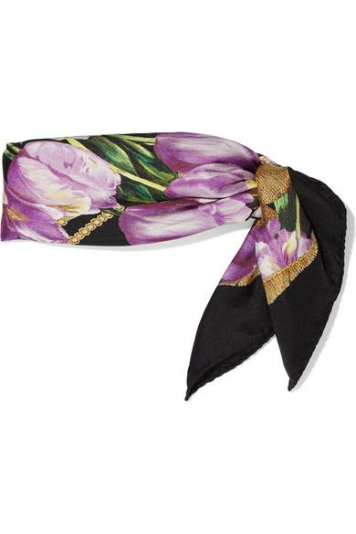 Dolce & Gabbana Tulip Print Silk Scarf from Net-A-Porter