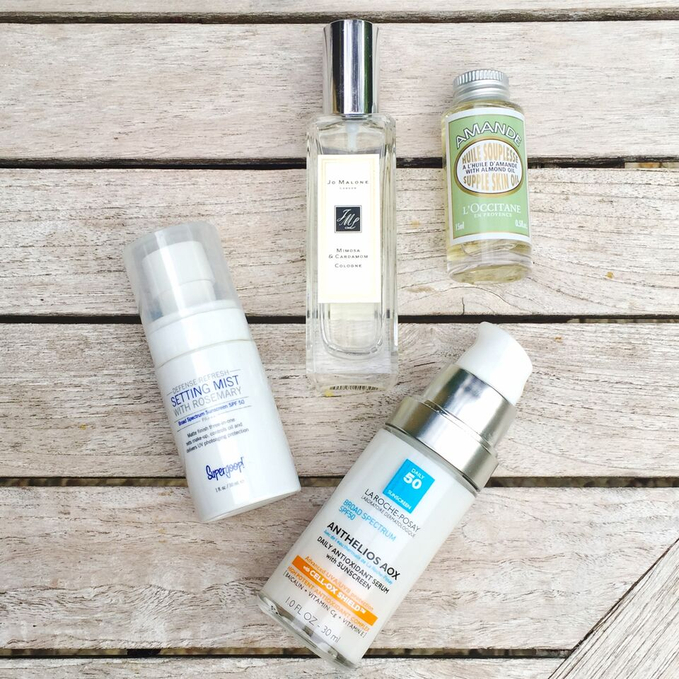 Anthelios AOX ,  Supergoop Setting Mist ,  Jo Malone Mimosa & Cardomom ,   L'Occitane Almond Oil