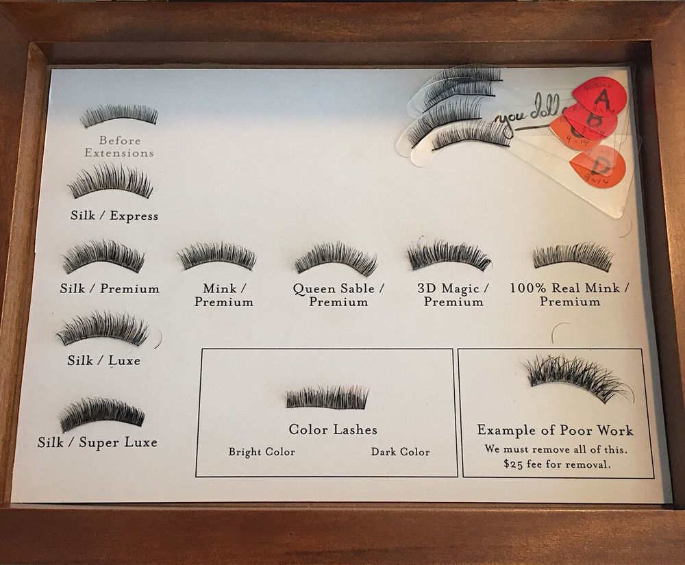 Eye lash selections