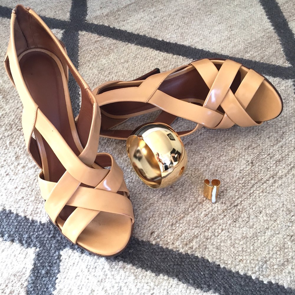 Bottega Veneta sandals, Janna Conner dome cuff & pearl Gilda ring.