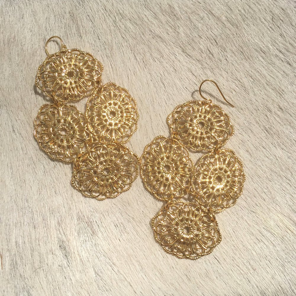 Janna Conner Lace Filigree Earrings  in Yellow Gold Plate