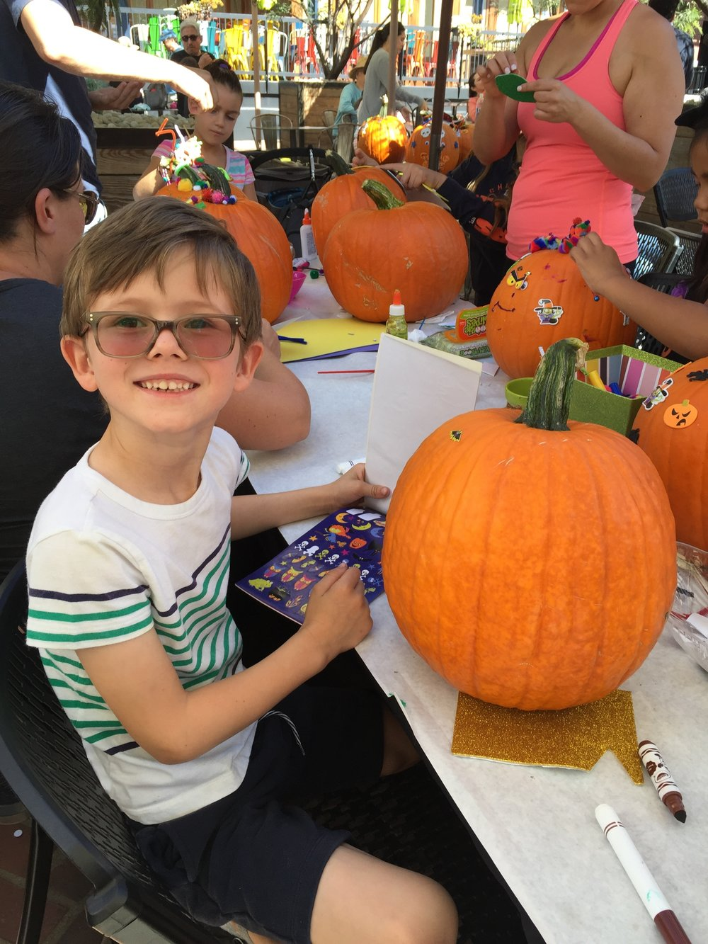 Pumpkin decorating at  One Colorado , Pasadena