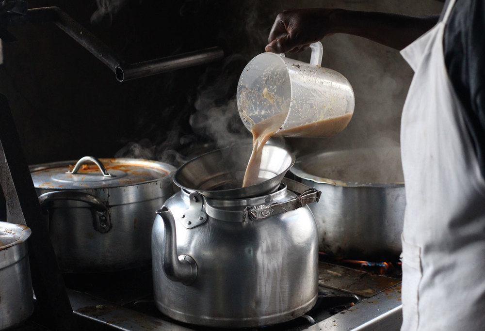 Chai - being transfered to a smaller tea kettle