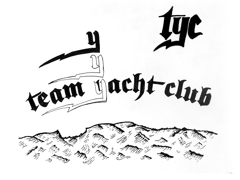 Team Yacht Club lettering work in progress by Matt Thompson