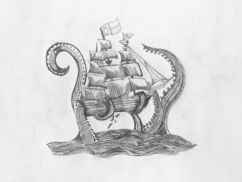 "Team Yacht Club ""Kraken"" pencil sketch by Matt Thompson"