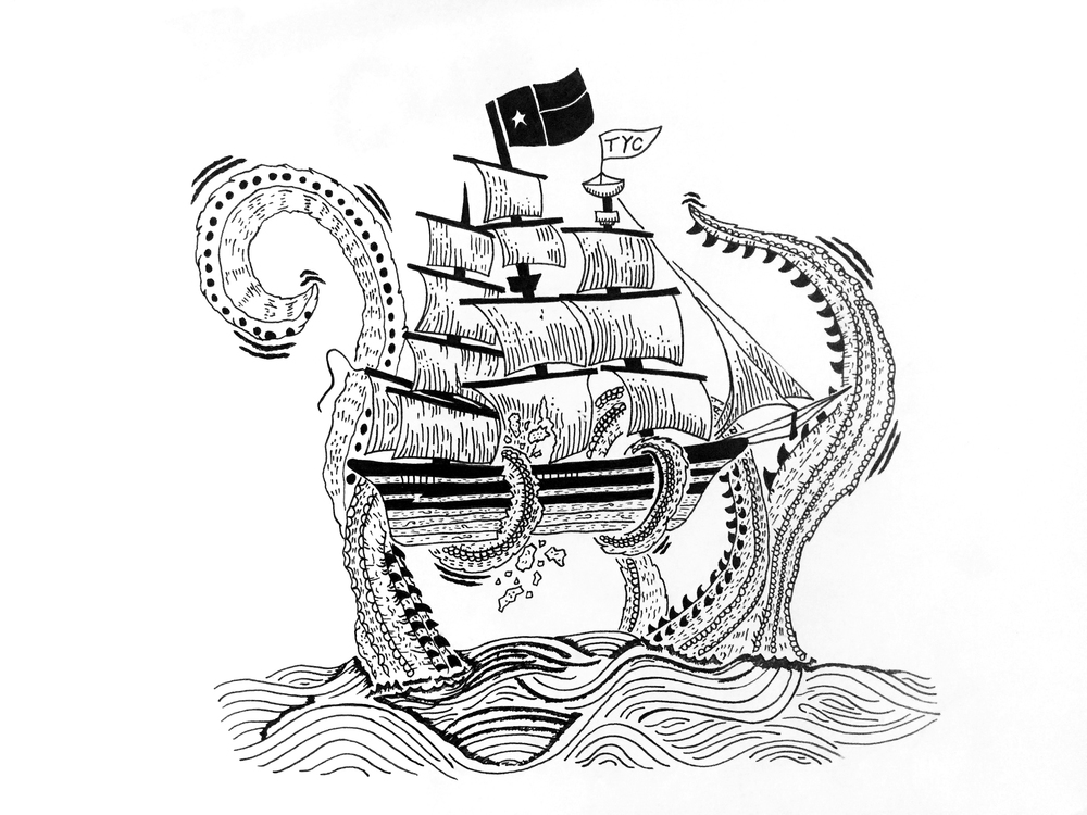 "Team Yacht Club ""Kraken"" T-shirt design ink progress. By Matt Thompson"