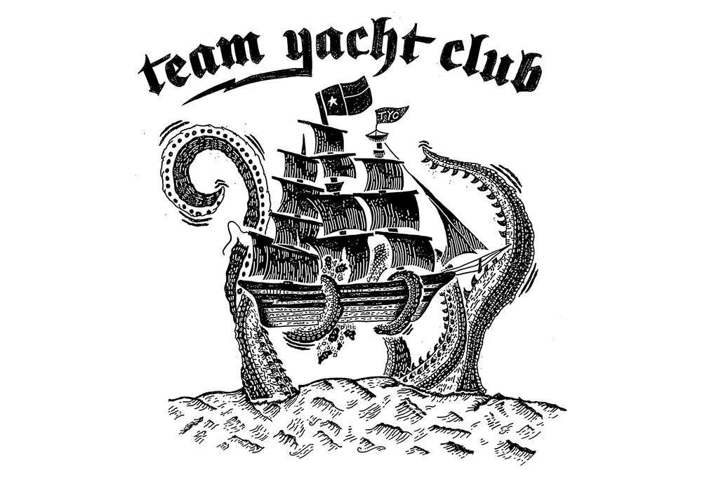 "Team Yacht Club ""Kraken"" t-shirt design final render. By Matt Thompson."