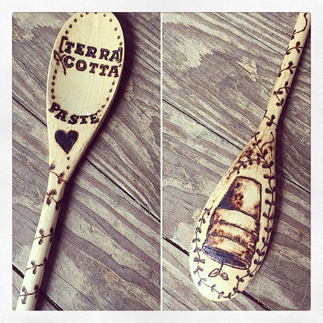 Love this custom surprise gift from @onesmallsquare!  #spoon #woodenspoon #wood #handmade #gift #burn #burnwood #custom #love #wyoming #family #terracottapaste #art #artist