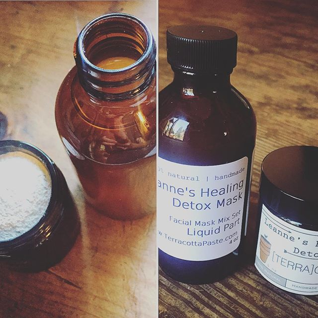 Leanne's Healing Detox Mask has an invigorating new method! Mix the ACV elixir with the bentonite powder blend immediately before use and feel the ingredients go to work on your skin! This new and improved formula keeps the powder and liquid phase separate to drastically elongate the shelf life of the product as well as to increase it's skin benefits and effectiveness! We hope you enjoy! Pick yours up at Plymouth Farmers' Market tomorrow from 7:30am-12:30pm. Pardon our temporary labeling while we make the transition in packaging. : )