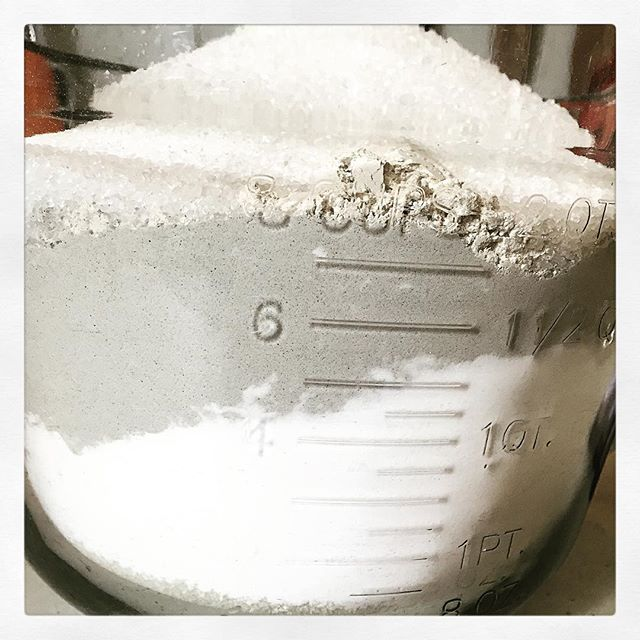 Made a big batch of Remineralizing Tooth Powder today! Get yours this Saturday at the Ann Arbor Farmers' Market! 7am-3pm.  #handmade #natural #tooth #teeth #toothpowder #powder #bentonite #remineralizing #minerals #clay #bakingsoda #xylitol #diamonaceousearth #de #peppermint #layers #grey #white #teatree #essentialoils #oralcare #local #farmersmarket