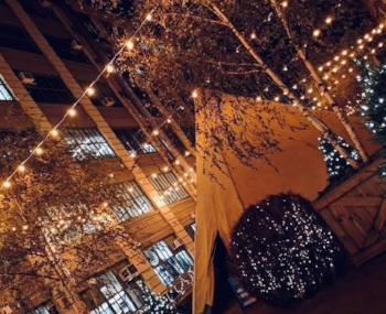 Two Tipis under the lights in Industry City in Brooklyn, New York