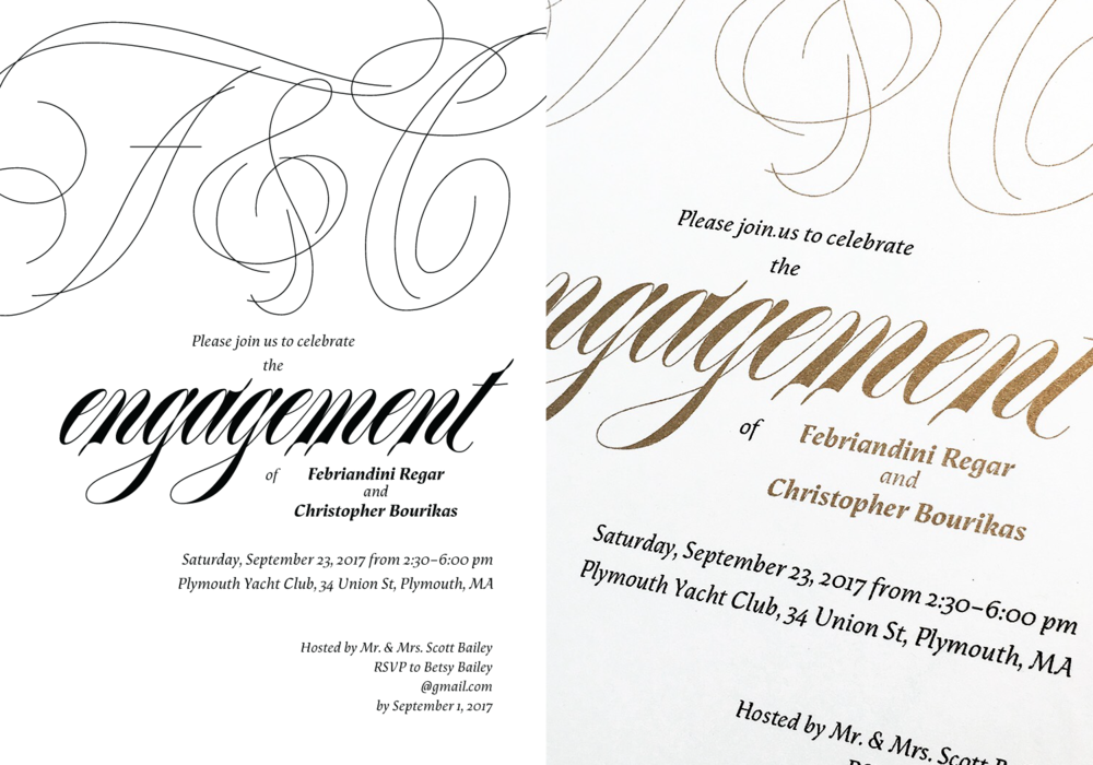 ANDIN & CHRIS ENGAGEMENT INVITES — Bespoke Letters by Dave Bailey