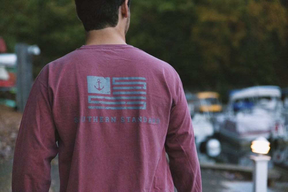 The American - Brick / Grey Long Sleeve Tee