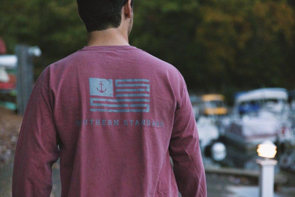 The American - Brick / Grey Long Sleeve Tee