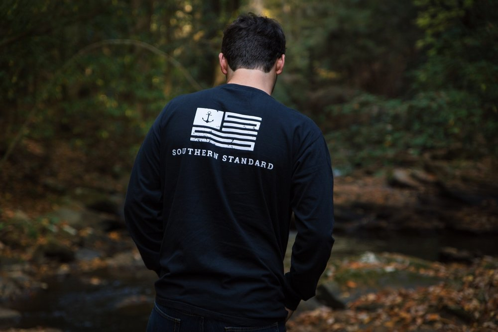 The American - Black / White Long Sleeve Tee
