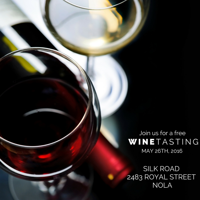 Join us at Silk Road, our restaurant, for free wine tastings on most Thursdays.