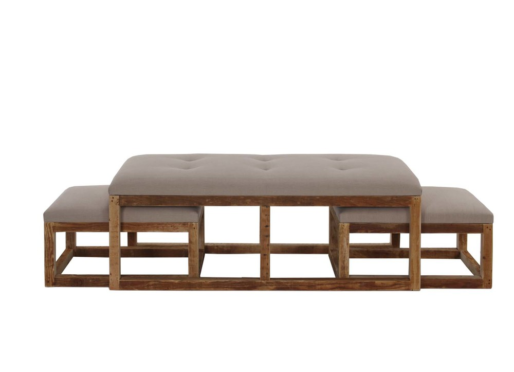 Stansbury Coffee Table Bench With Nesting Ottomans