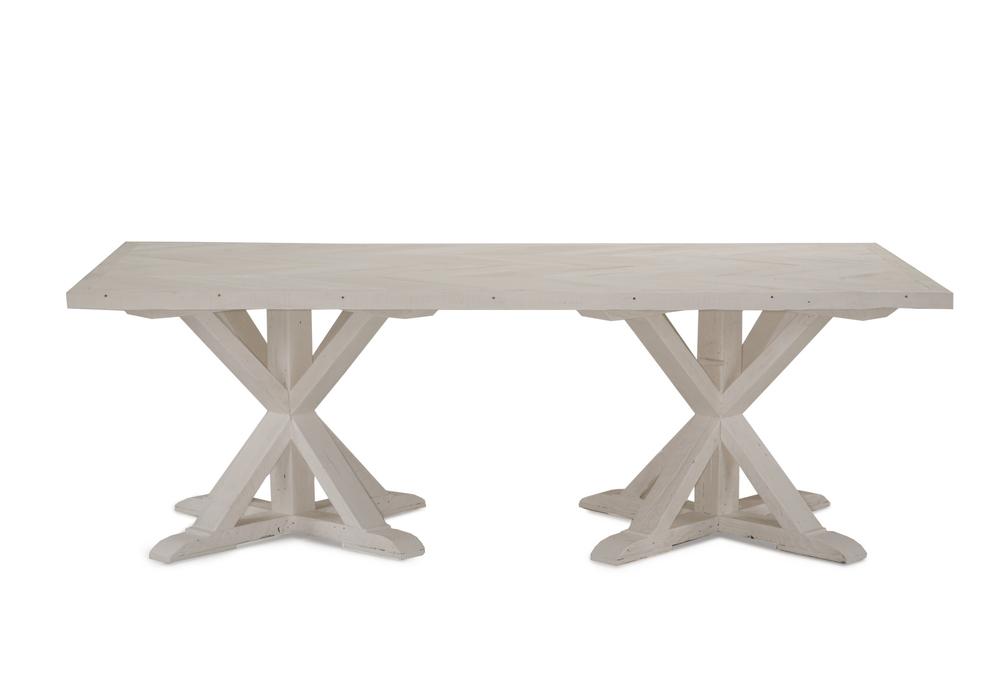 Bixby Double Pedestal Dining Table Whitewash Brownstone Upholstery - Whitewashed pedestal dining table