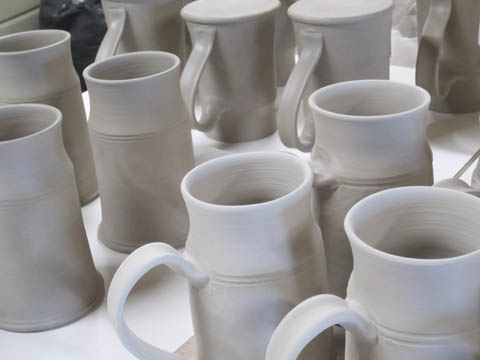 Steins ready for the first firing