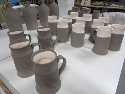 Partially glazed steins