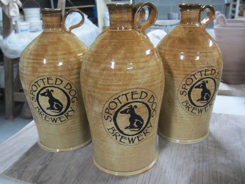 These growlers are inspired by early 1800's growlers owned by Thomas Jefferson, as seen at the Monticello estate. The first growler Jerry ever bought had a similar shape!