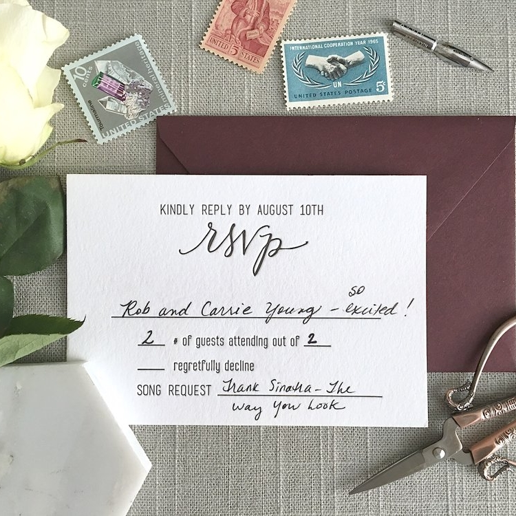 RSVP CARD   The RSVP Card gives your guests the ability to let you know whether they ca n  make it. It can either be mailed back or contain info on how to RSVP online.