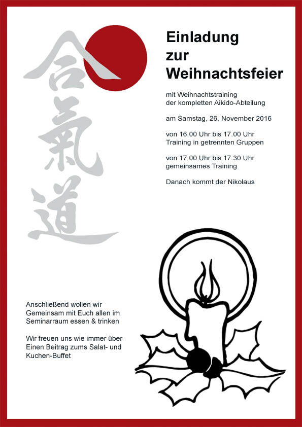 Beitrag Zur Weihnachtsfeier.Gemeinsame Weihnachtsfeier Aikido Im Tsv Großhadern München