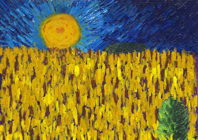 """""""Wheatfields at Auvers Sur Oise"""" Acrylicon Canvas, 11x14. © 2000 Suzarita"""