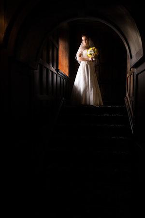 Dramatically lit photo of bride walking down stairs in her wedding dress.jpg