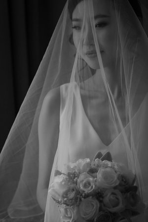 Waist up photo of bride with veil over her face.jpg
