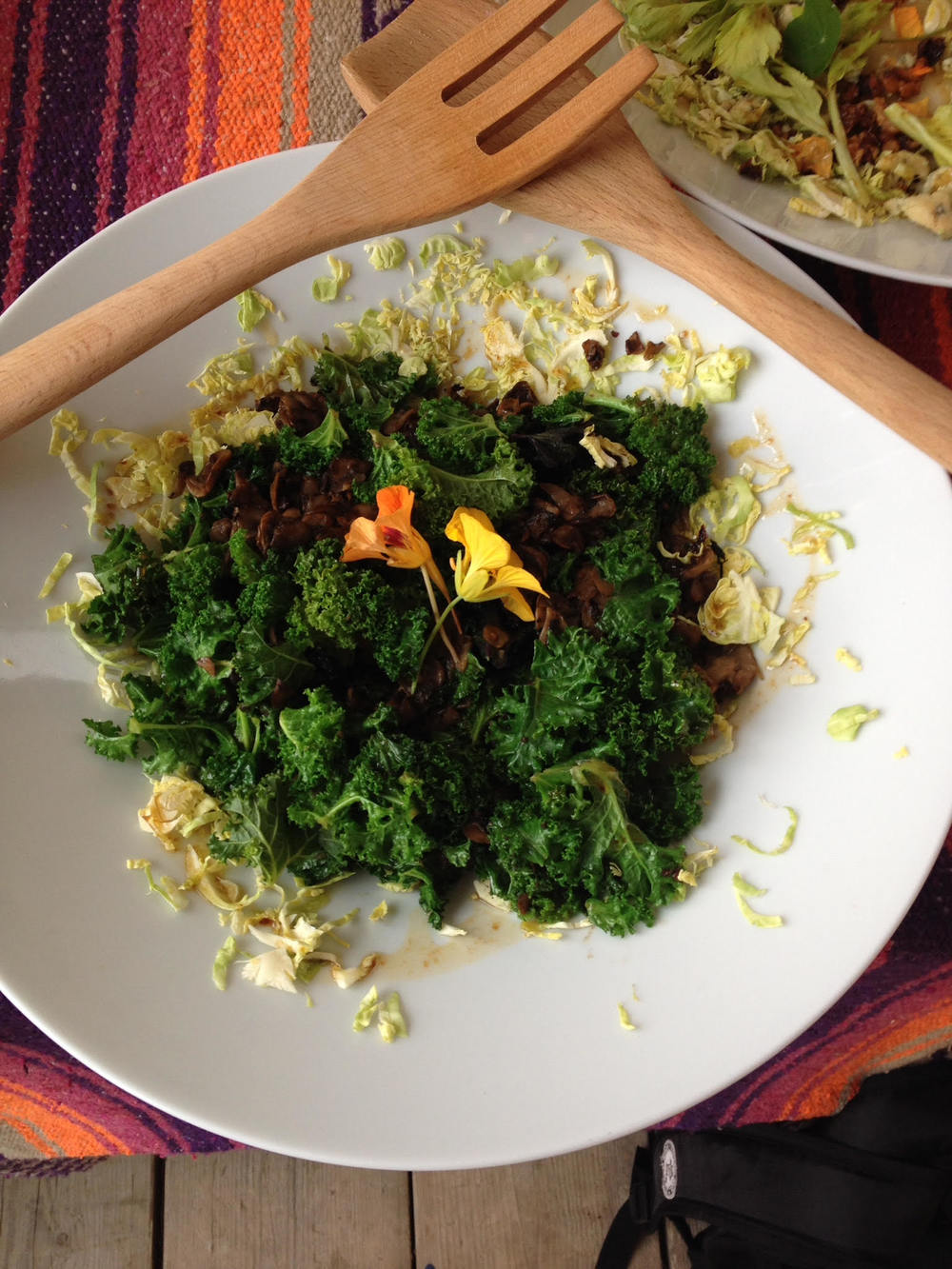 Brussels sprout, mushroom & kale salad with nasturtium flowers