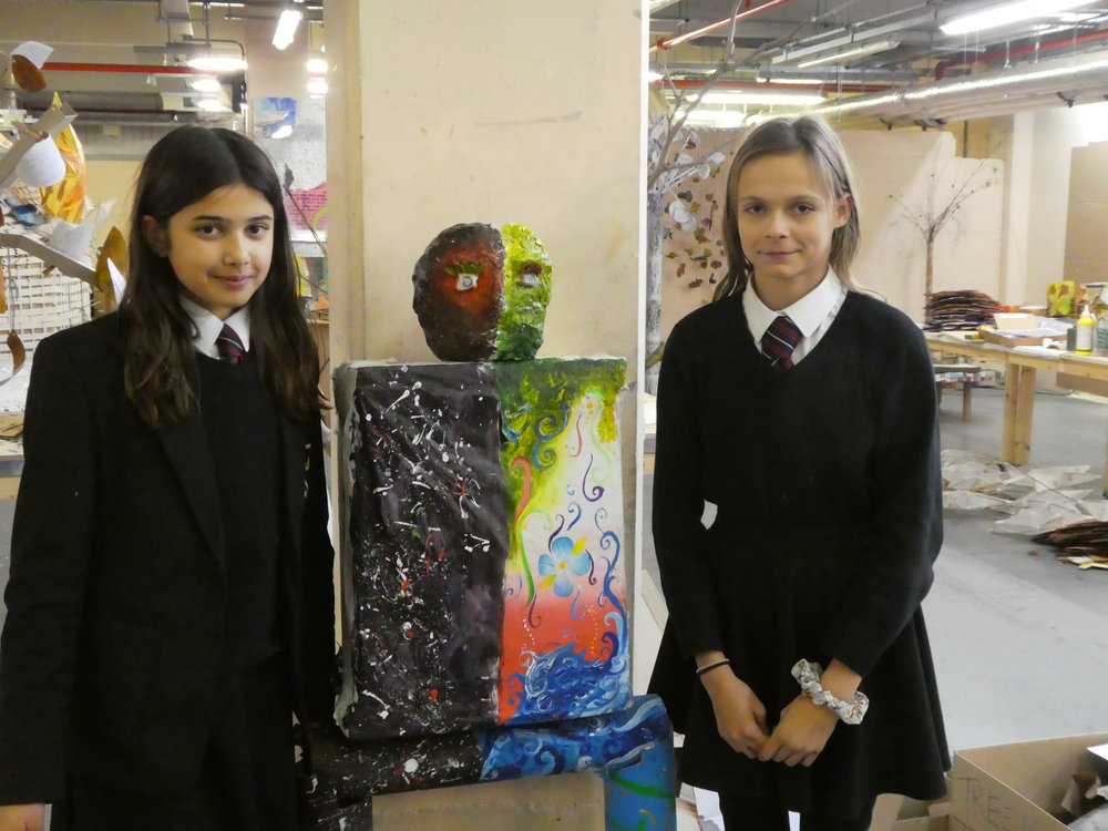 Rosa and Ella from Kingsdale School present their 'Cosmic Human'