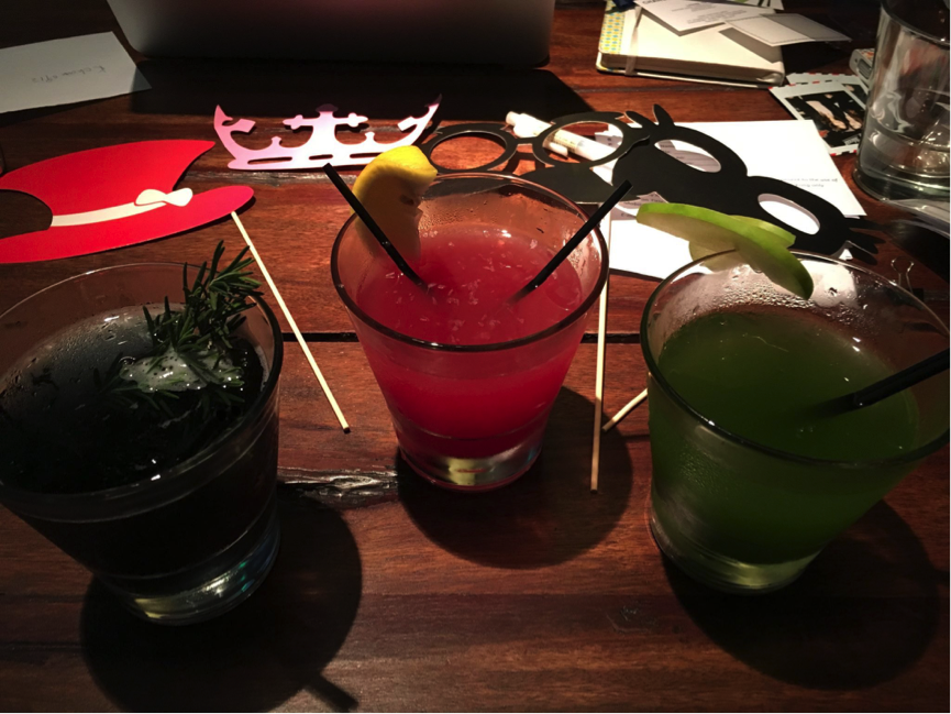 (From left to right) Radica signature cocktails: Purple (Ri Manggis) ; Red (Radica Red) ; Green (SMS Plus)