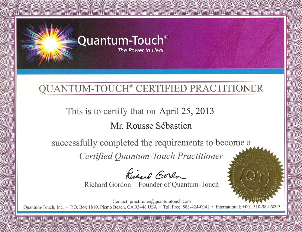 Diplome Quantum-touch® praticien certifié