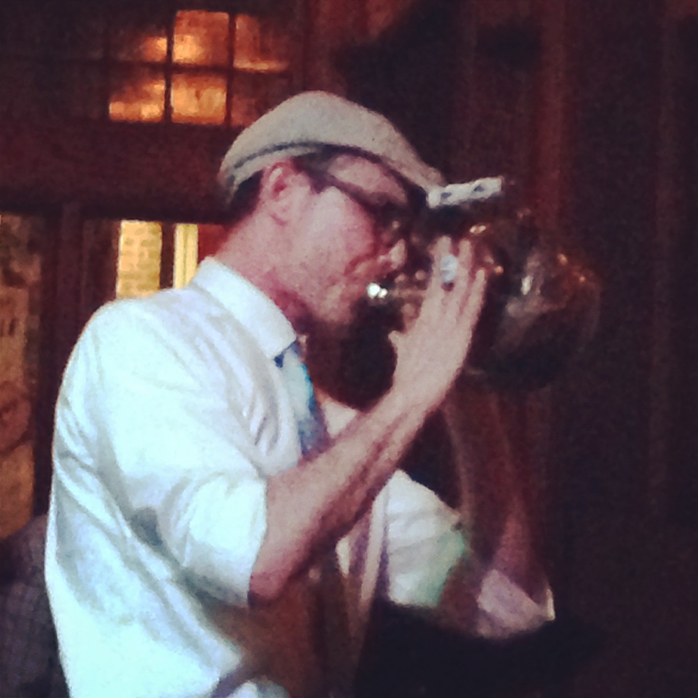Jason playing the teapot with his Sneak Thievery Orchestra at Radegast, Brooklyn