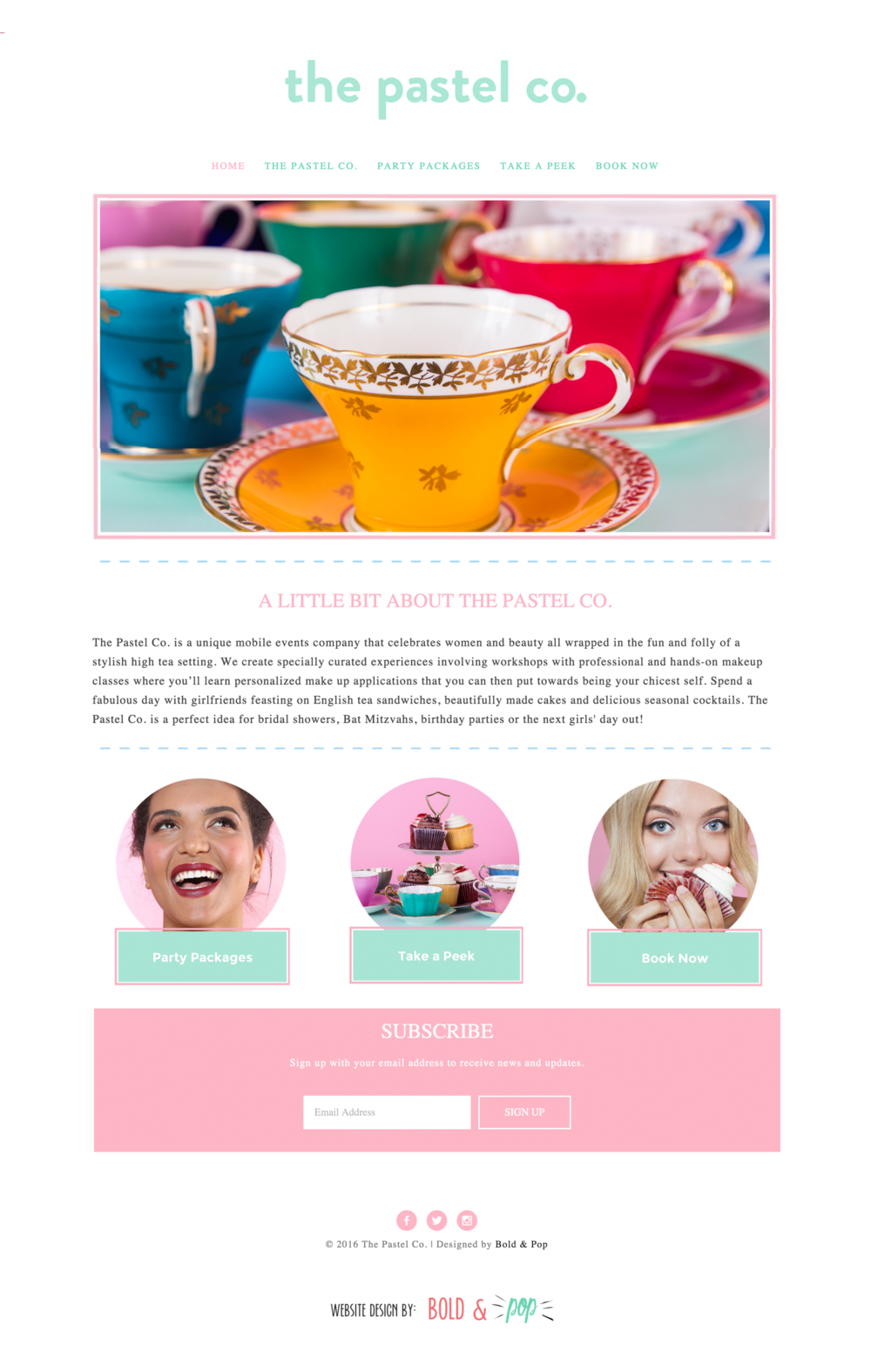 Bold & Pop : The Pastel Co Website Design
